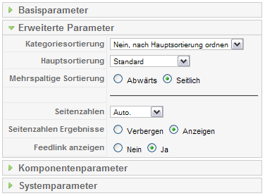Menü Layout Blog Erweiterte Parameter