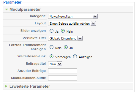 Modul Newsflash Parameter